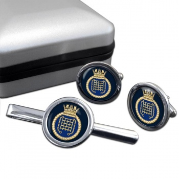 HMS Westminster (Royal Navy) Round Cufflink and Tie Clip Set