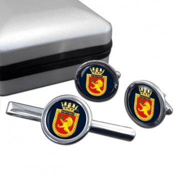 HMS Whitshed (Royal Navy) Round Cufflink and Tie Clip Set