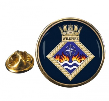 HMS Wildfire (Royal Navy) Round Pin Badge