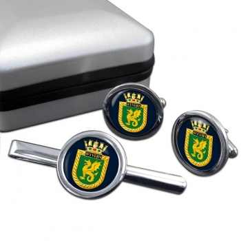 HMS Wyvern (Royal Navy) Round Cufflink and Tie Clip Set