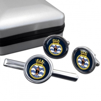 HMS Zulu (Royal Navy) Round Cufflink and Tie Clip Set