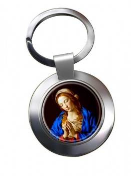 Blessed Virgin Mary Leather Chrome Key Ring