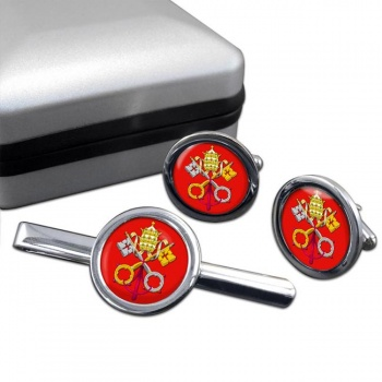 Holy See Coat of Arms Round Cufflink and Tie Bar Set