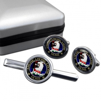 Home Scottish Clan Round Cufflink and Tie Clip Set