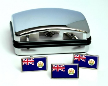British Hong Kong Flag Cufflink and Tie Pin Set