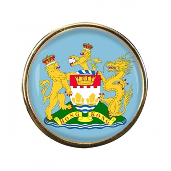British Hong Kong Round Pin Badge