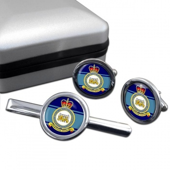 RAF Station Horsham St Faith Round Cufflink and Tie Clip Set