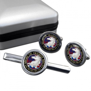 Horsburgh Scottish Clan Round Cufflink and Tie Clip Set