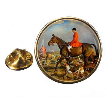 Horse and Hounds Round Pin Badge