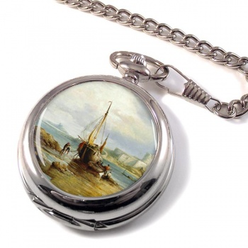 View of St. Aubin's Fort St. Aubin's Bay Jersey by Henry King Taylor Pocket Watch