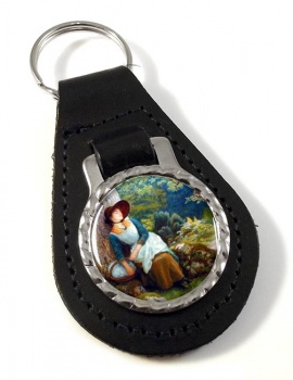 Asleep in the Woods by Arthur Hughes Leather Keyfob