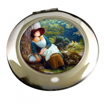Asleep in the Woods by Arthur Hughes Round Mirror