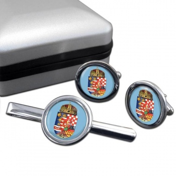Hungary 1915 Coat of Arms Round Cufflink and Tie Clip Set