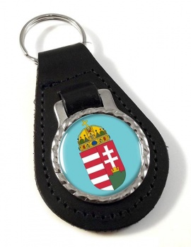 Hungary Coat of Arms Leather Key Fob