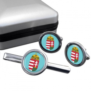 Hungary Coat of Arms Round Cufflink and Tie Clip Set