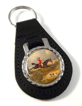 Hunting Clearing the Ditch by Herring Leather Key Fob