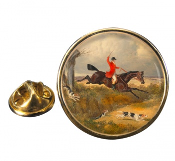 Hunting Clearing the Ditch by Herring Round Pin Badge