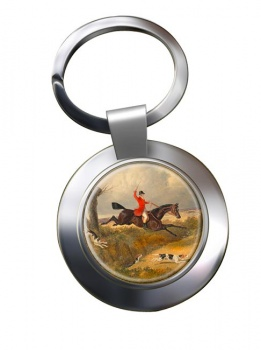 Hunting Clearing the Ditch by Herring Chrome Key Ring