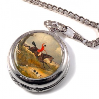 Hunting Clearing the Ditch by Herring Pocket Watch
