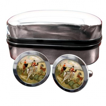 Hunting over the Ditch Round Cufflinks