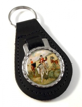 Hunting over the Ditch Leather Key Fob
