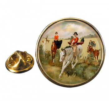 Hunting over the Ditch Round Pin Badge