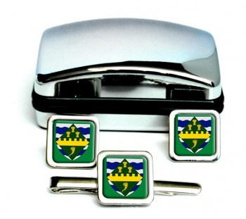 Huntingdonshire (England) Square Cufflink and Tie Clip Set