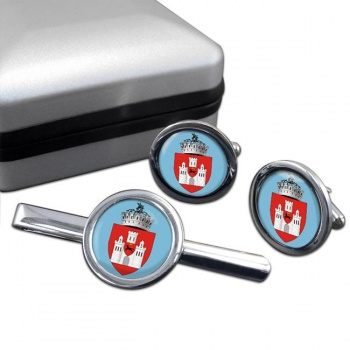 Iasi (Romania) Round Cufflink and Tie Clip Set