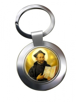 St. Ignatius of Loyola Leather Chrome Key Ring