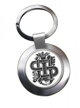 Christogram Entwined Leather Chrome Key Ring