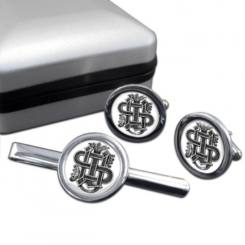 Christogram Entwined Round Cufflink and Tie Bar Set