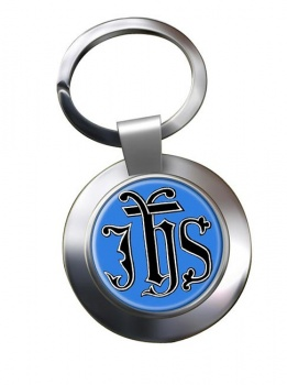 Christogram IHS Gothic Leather Chrome Key Ring