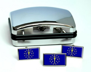 Indiana  Flag Cufflink and Tie Pin Set