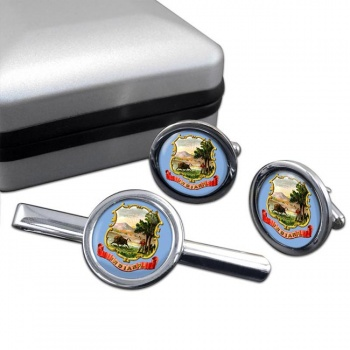 Indiana  Round Cufflink and Tie Clip Set