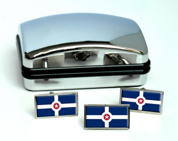 Indianapolis IN  Flag Cufflink and Tie Pin Set