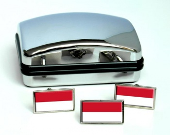 Indonesia Flag Cufflink and Tie Pin Set