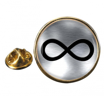 Infinity Symbol Metallic Round Pin Badge