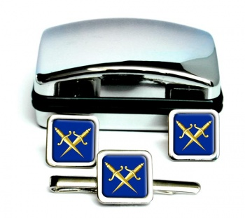 Masonic Lodge Inner Guard Square Cufflink and Tie Clip Set