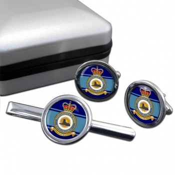 Intelligence School (Royal Air Force) Round Cufflink and Tie Clip Set