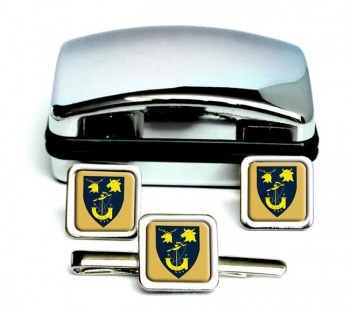 Inverness-shire (Scotland) Square Cufflink and Tie Clip Set