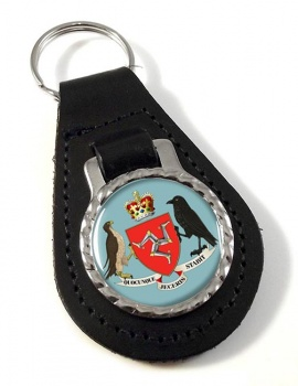 Isle of Man Coat of Arms Leather Key Fob