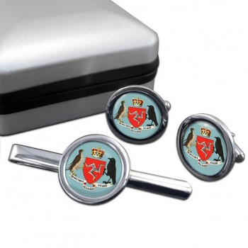 Isle of Man Coat of Arms Round Cufflink and Tie Clip Set