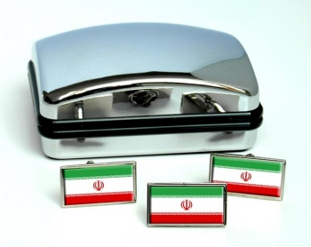 Iran Flag Cufflink and Tie Pin Set