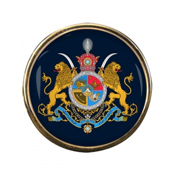 Imperial Coat of Arms Iran Round Pin Badge