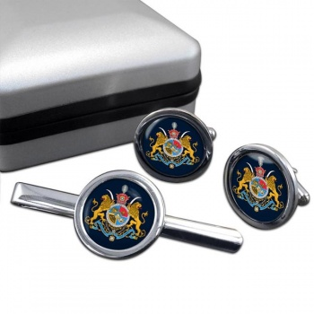 Imperial Coat of Arms Iran Round Cufflink and Tie Clip Set