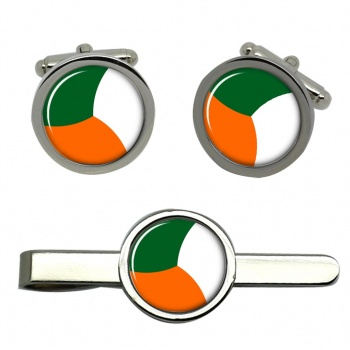 Irish Defence Forces Roundel Round Cufflink and Tie Clip Set