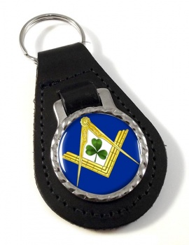 Irish Masons Masonic Leather Key Fob