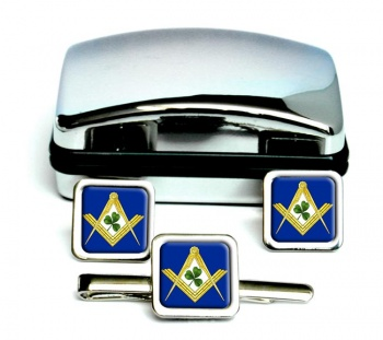 Irish Masons Masonic Square Cufflink and Tie Clip Set