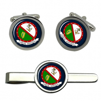 Irish Naval Service Round Cufflink and Tie Clip Set