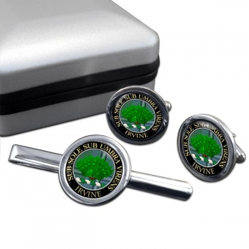 Irvine Scottish Clan Round Cufflink and Tie Clip Set